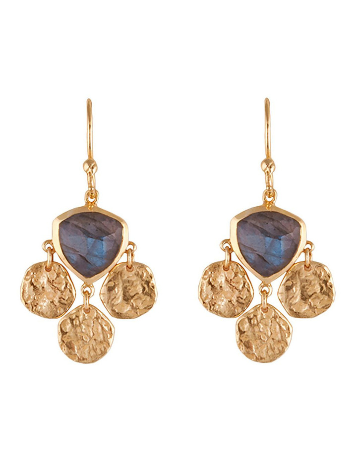 Lumiere+Lustre Gold Tri Disc With Labradorite Earrings image 1