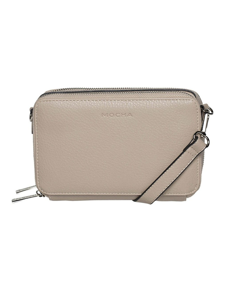 Double Zip Clutch Crossbody Bag - Light Taupe image 4