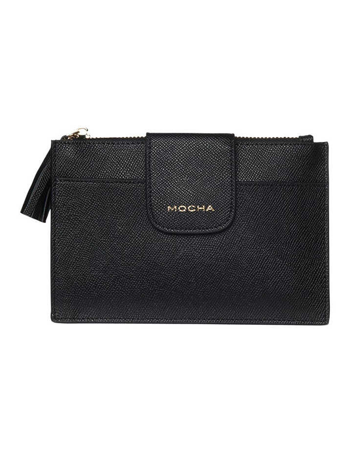 Tassel Clip Leather Coin Wallet - Black image 1
