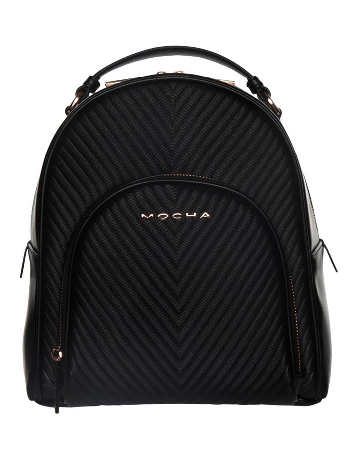 Chevron Shell Leather Backpack - Black/Rose Gold image 1