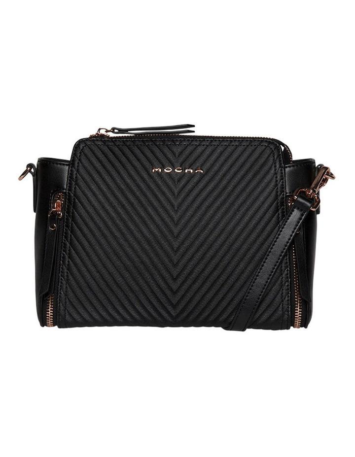 Chevron Double Zip Crossbody Bag - Black image 1