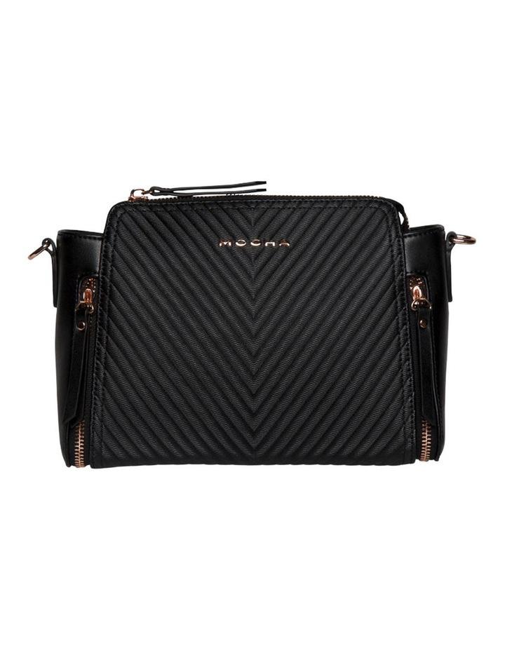 Chevron Double Zip Crossbody Bag - Black image 2