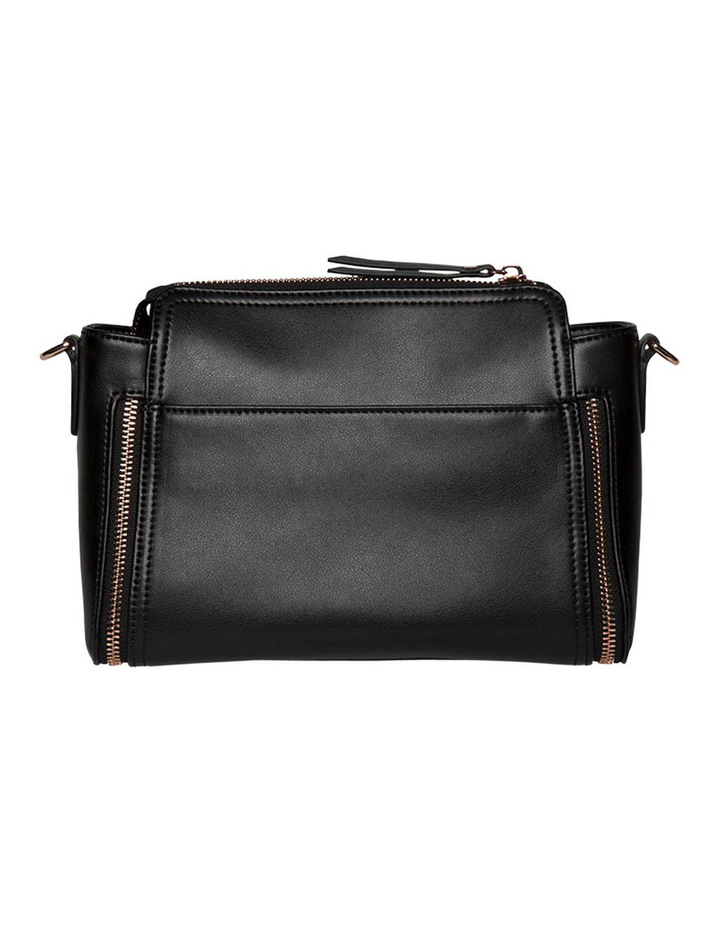 Chevron Double Zip Crossbody Bag - Black image 3