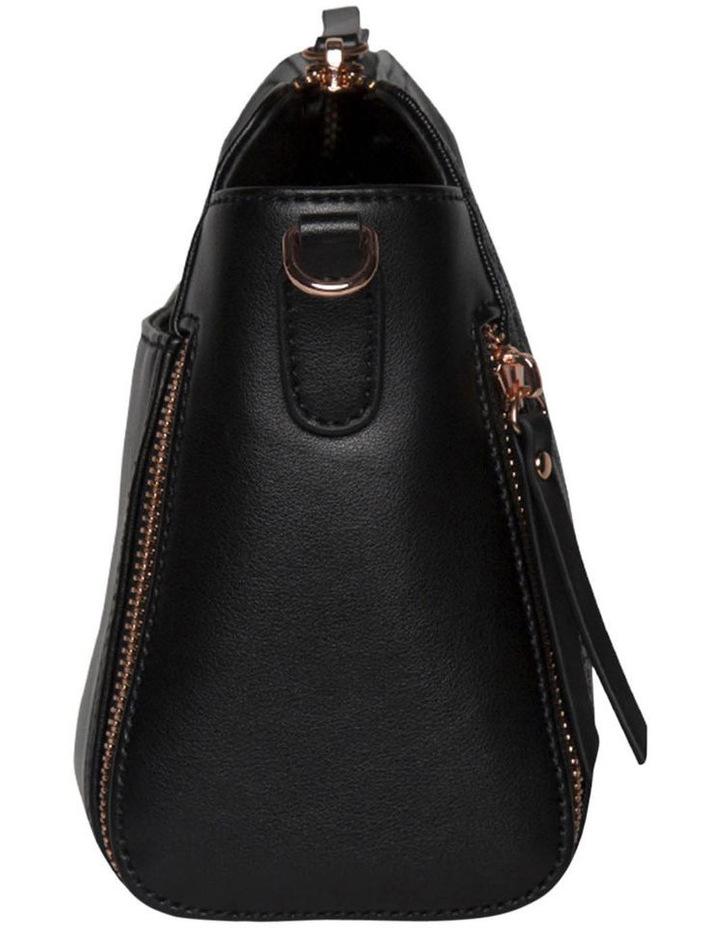 Chevron Double Zip Crossbody Bag - Black image 4