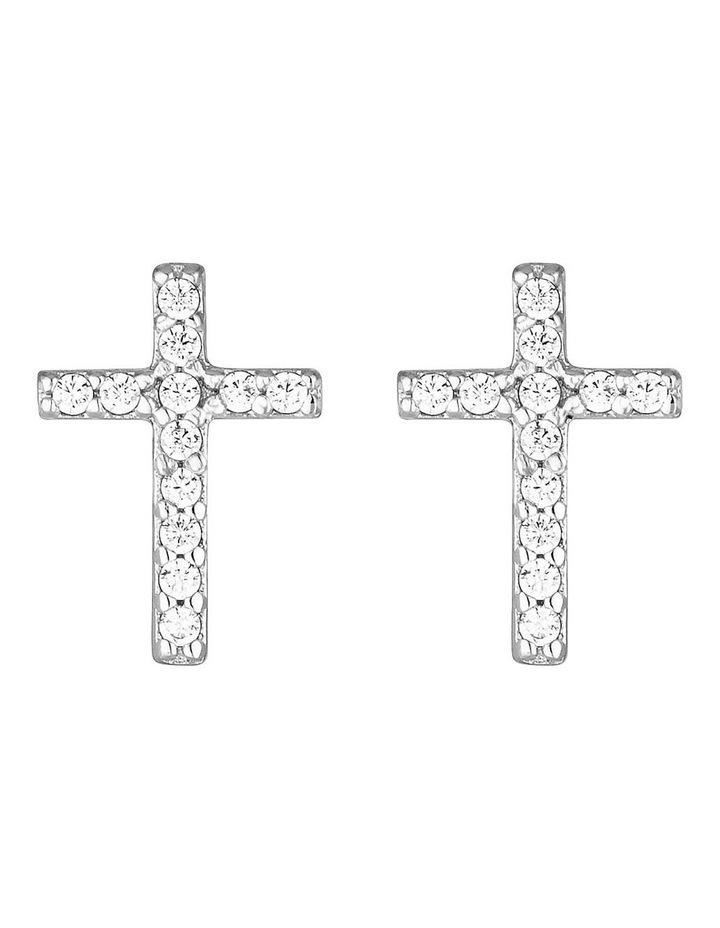 Cross Stud Earrings-Silver image 1