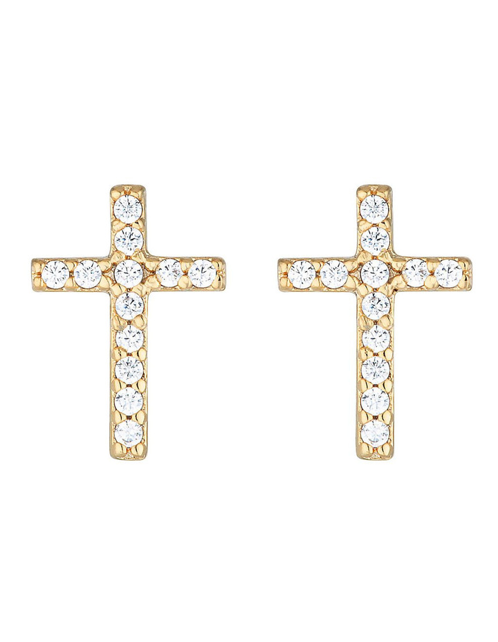 Cross Stud Earrings-Gold image 1
