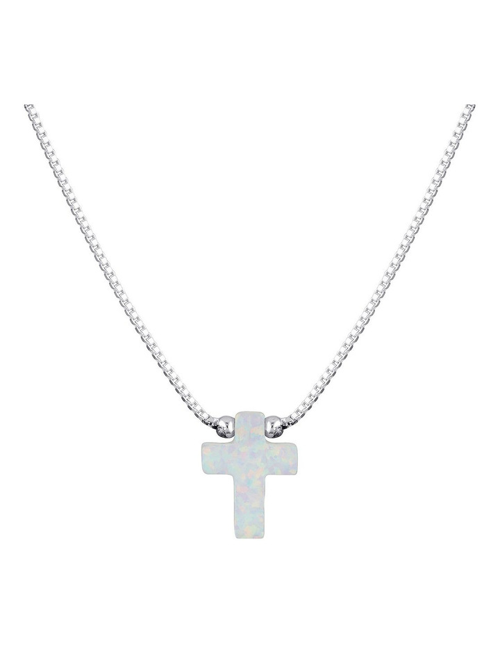 SS Mini Cross Fine Necklace - White image 1