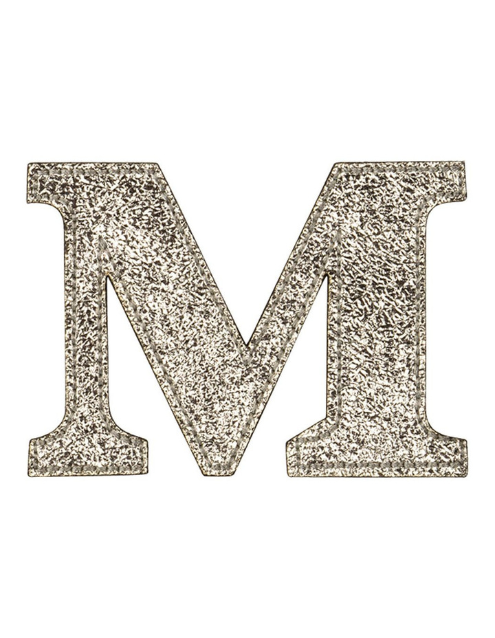 Leather Initial Sticker Patch- M Gold image 1