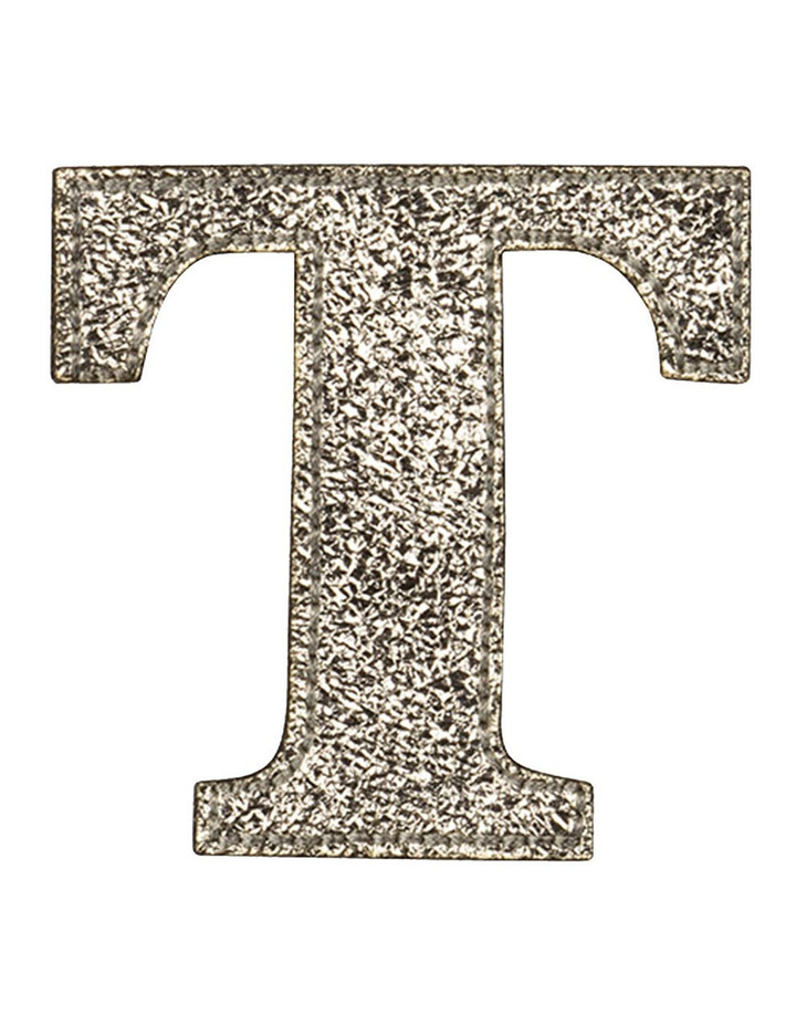 Leather Initial Sticker Patch- T Gold image 1