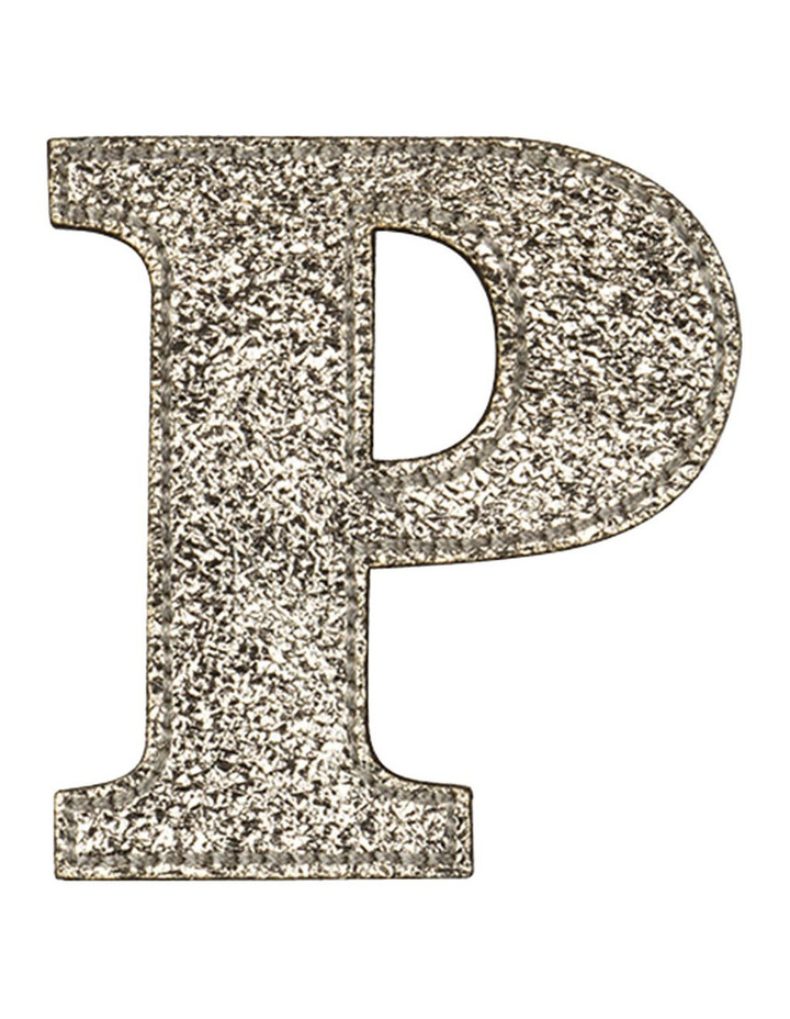 Leather Initial Sticker Patch- P Gold image 1