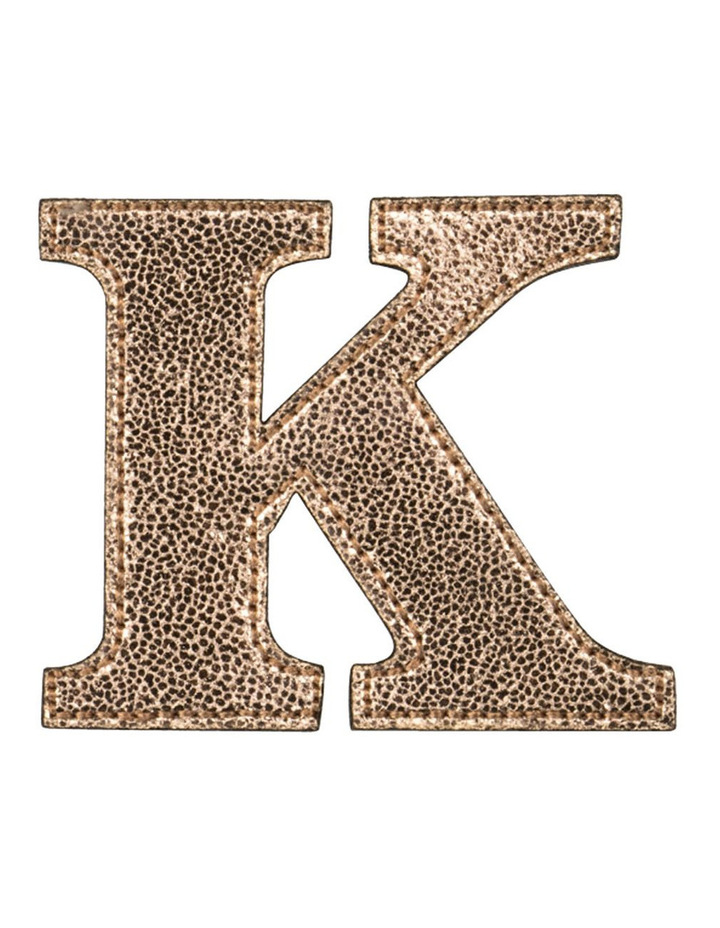 Leather Initial Sticker Patch- K Rosegold image 1