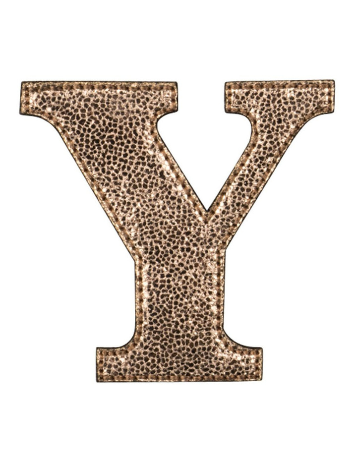 Leather Initial Sticker Patch- Y Rosegold image 1