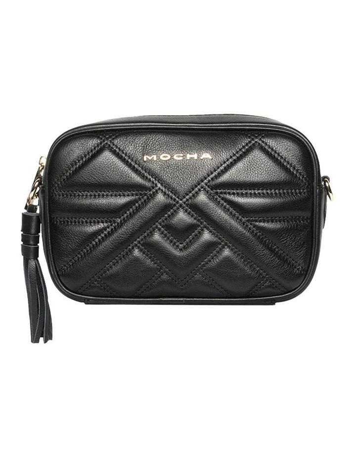 Aztec Leather Crossbody Bag - Black image 1