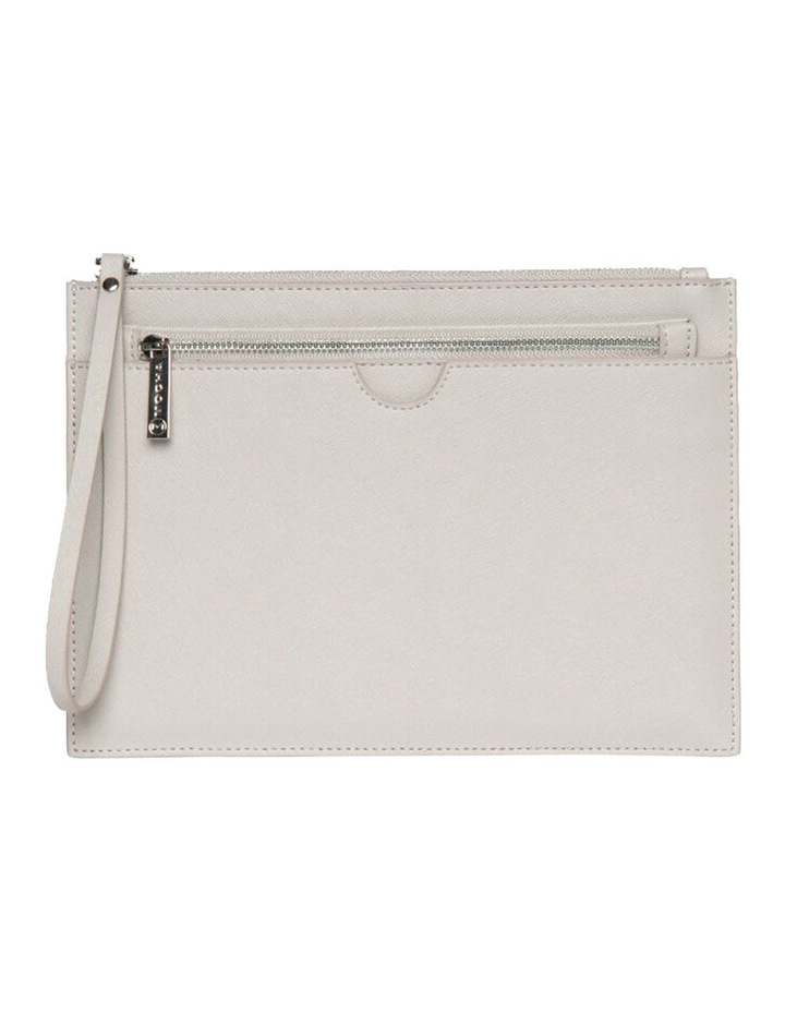 Jane Double Leather Clutch - Grey image 1