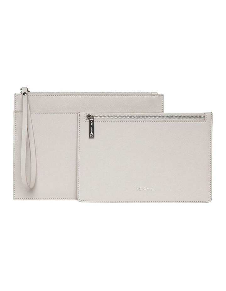 Jane Double Leather Clutch - Grey image 2