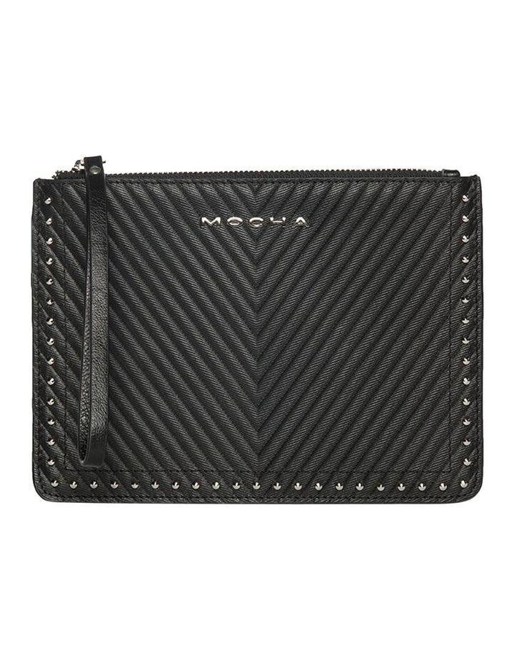 Chevron Stud Leather Clutch - Black image 1