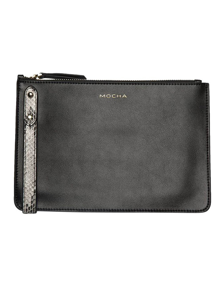 Cara Snake Embossed Leather Clutch - Black image 1