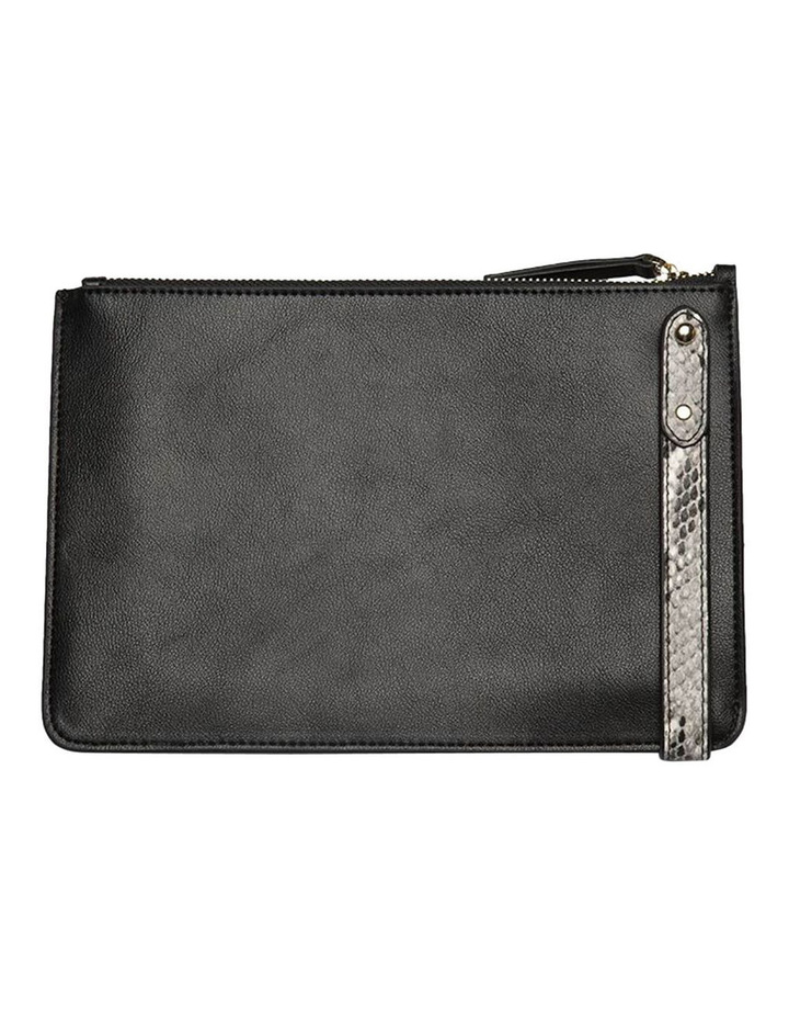 Cara Snake Embossed Leather Clutch - Black image 3