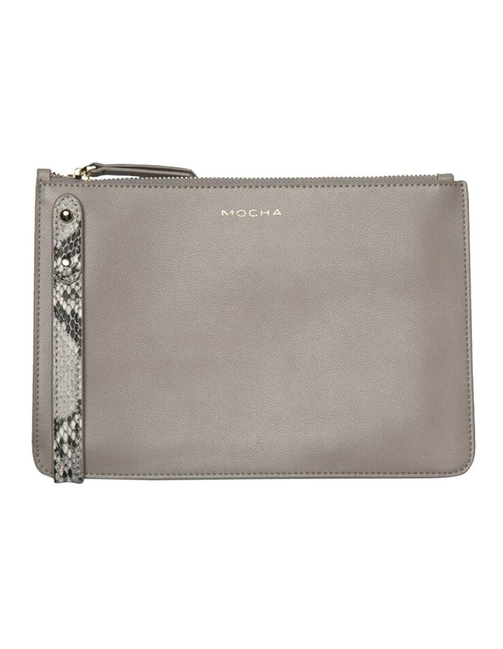 Cara Snake Embossed Leather Clutch - Grey image 1
