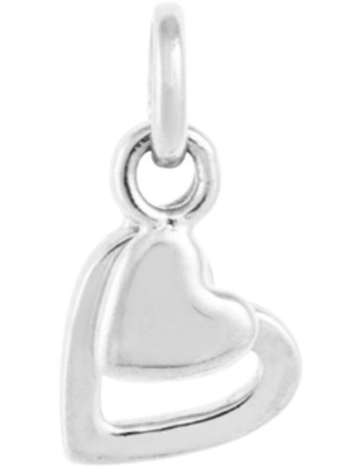 Double Heart Charm w/ Sterling Silver image 1