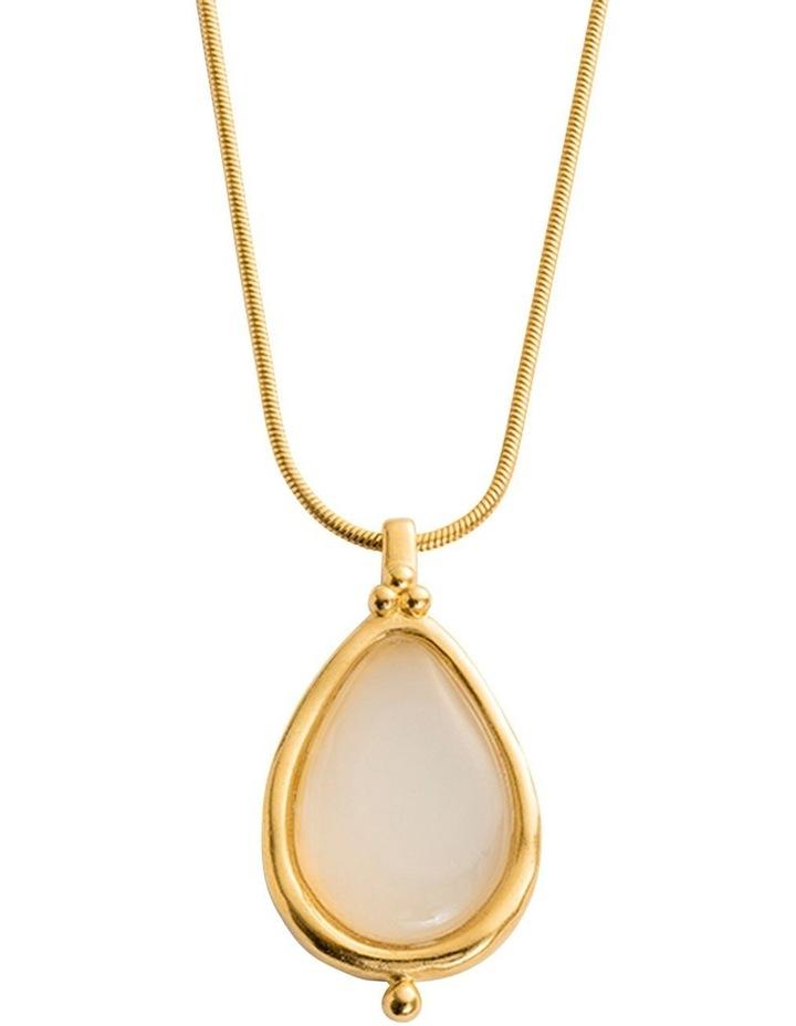 White Agate Teardrop Charm w/ 18K Gold Vermeil image 3