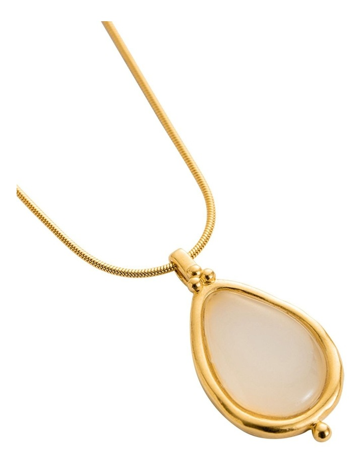 White Agate Teardrop Charm w/ 18K Gold Vermeil image 4