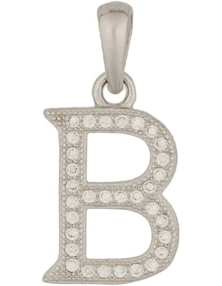Letter Pendant With CZ Sterling Silver Charm-B image 1