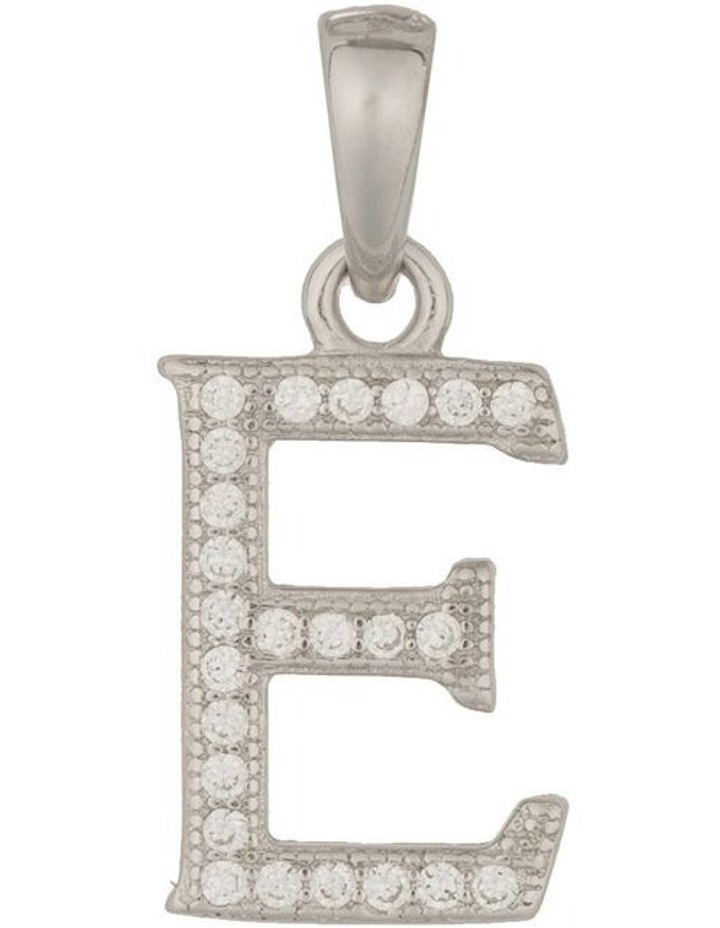 Letter Pendant With CZ Sterling Silver Charm-E image 1