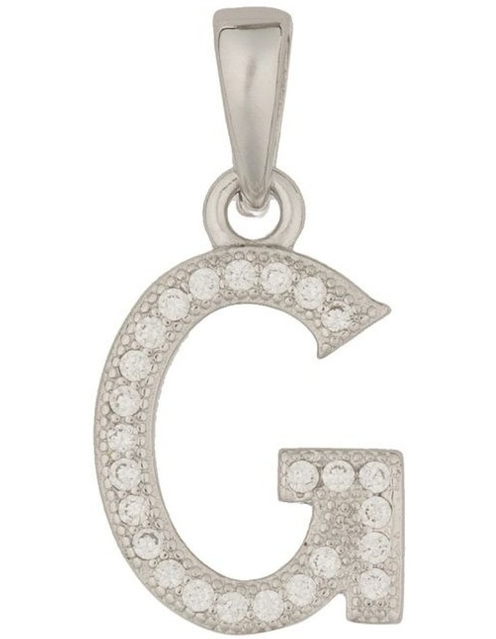 Letter Pendant With CZ Sterling Silver Charm-G image 1