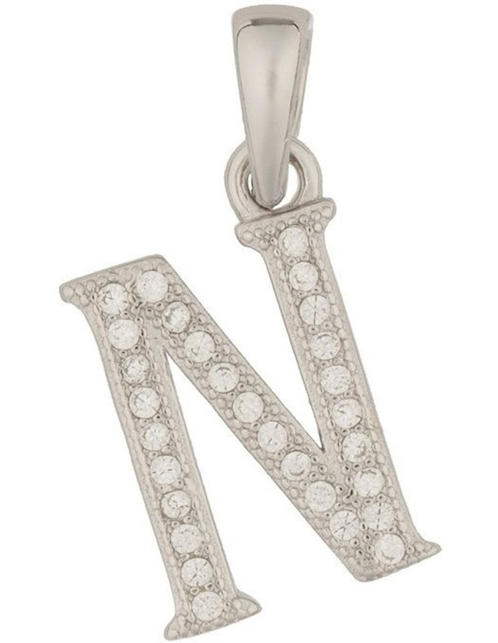 Letter Pendant With CZ Sterling Silver Charm-N image 1