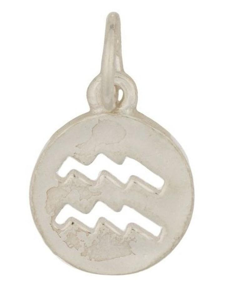 Aquarius Zodiac Plate Sterling Silver Charm image 1