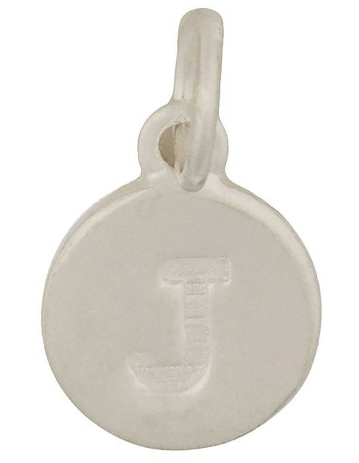 Round Plate Letter Sterling Silver Charm - J image 1
