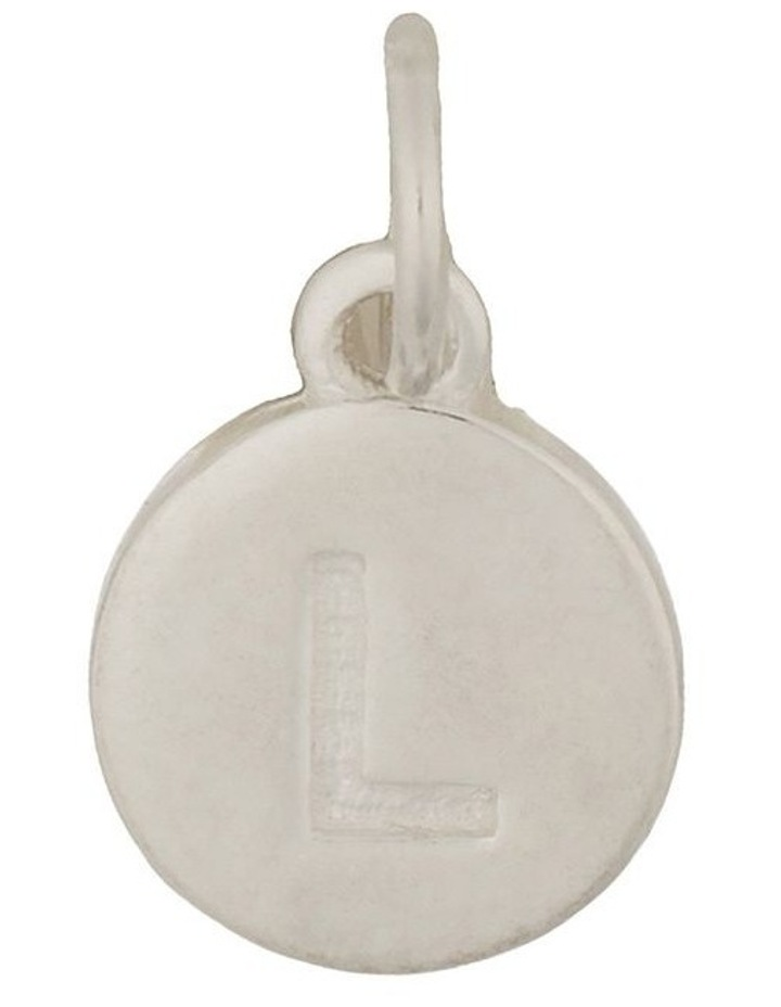 Round Plate Letter Sterling Silver Charm - L image 1