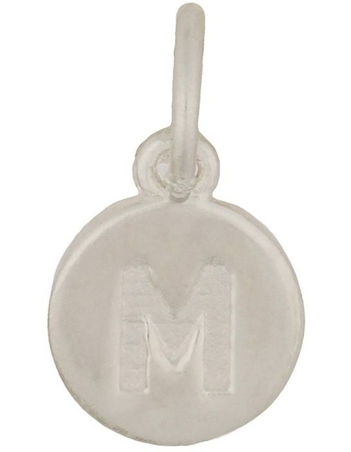 Round Plate Letter Sterling Silver Charm - M image 1