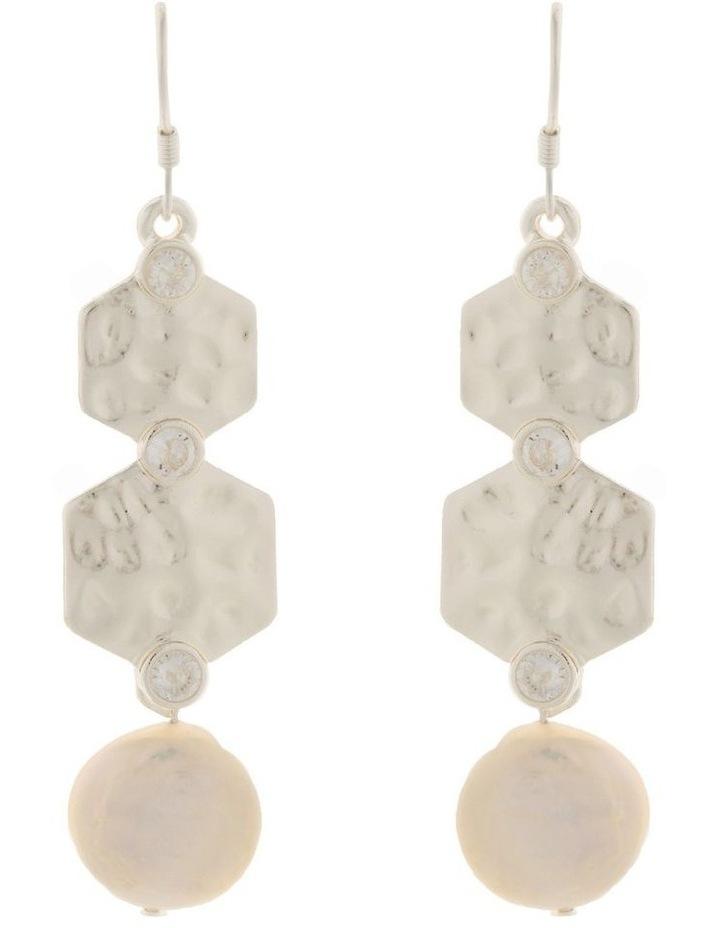 Strength Pearl Drop Earrings w/ Cubic Zirconia - Silver image 1