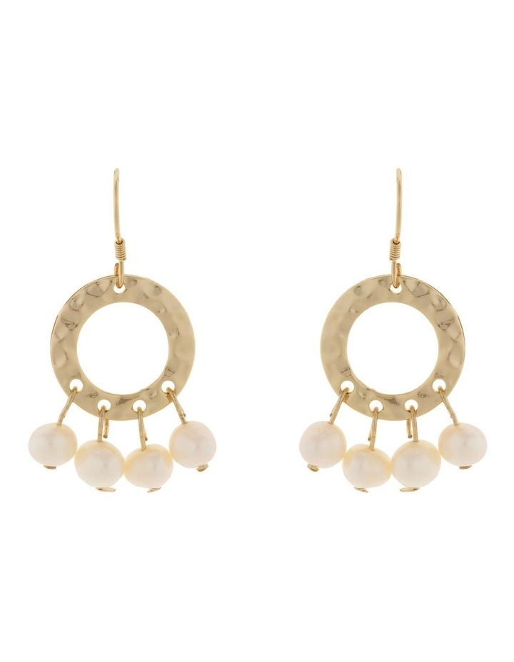 Ring Of Life Earrings - Pearl/Light Gold image 1