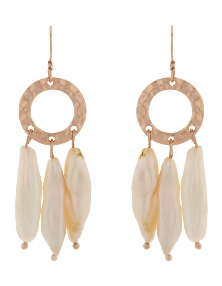 Ring Of Life Pearl Drop Earrings-Rose Gold image 1