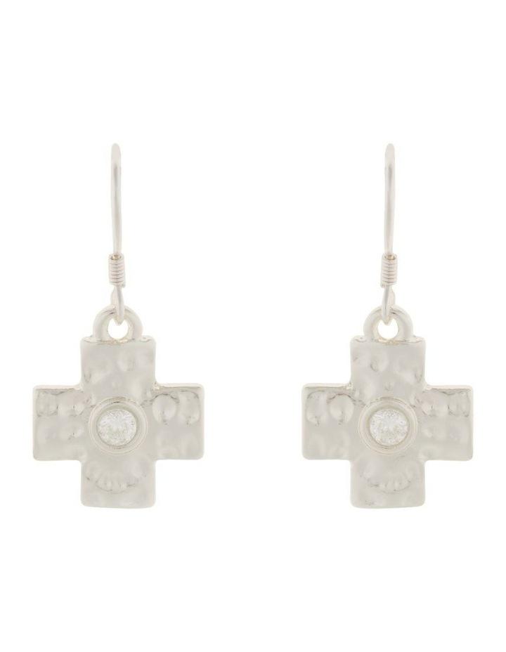 Cross Earrings w/ Cubic Zirconia - Silver image 1