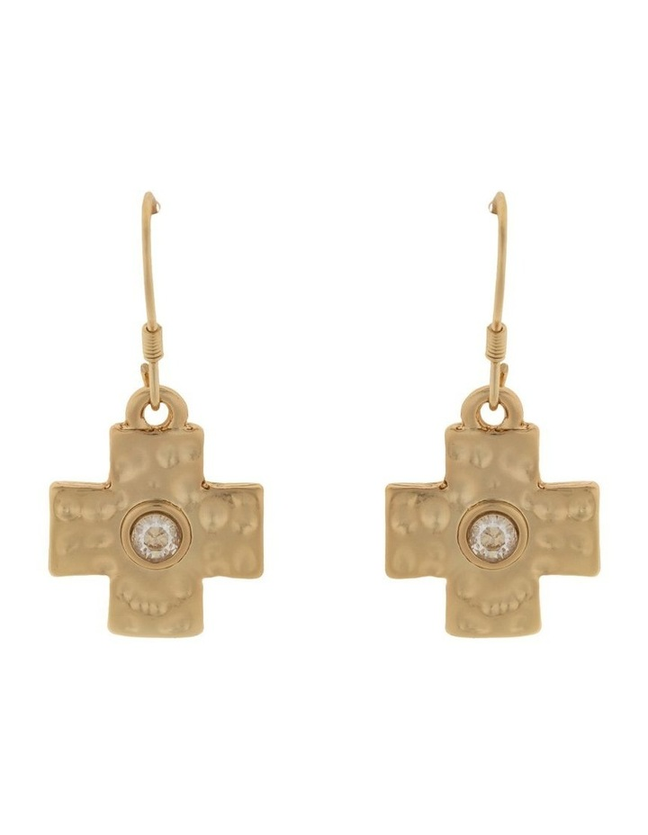 Cross Earrings-Light Gold image 1