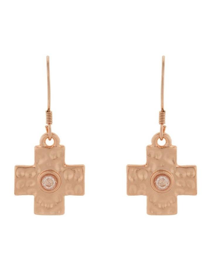 Cross Earrings-Rose Gold image 1