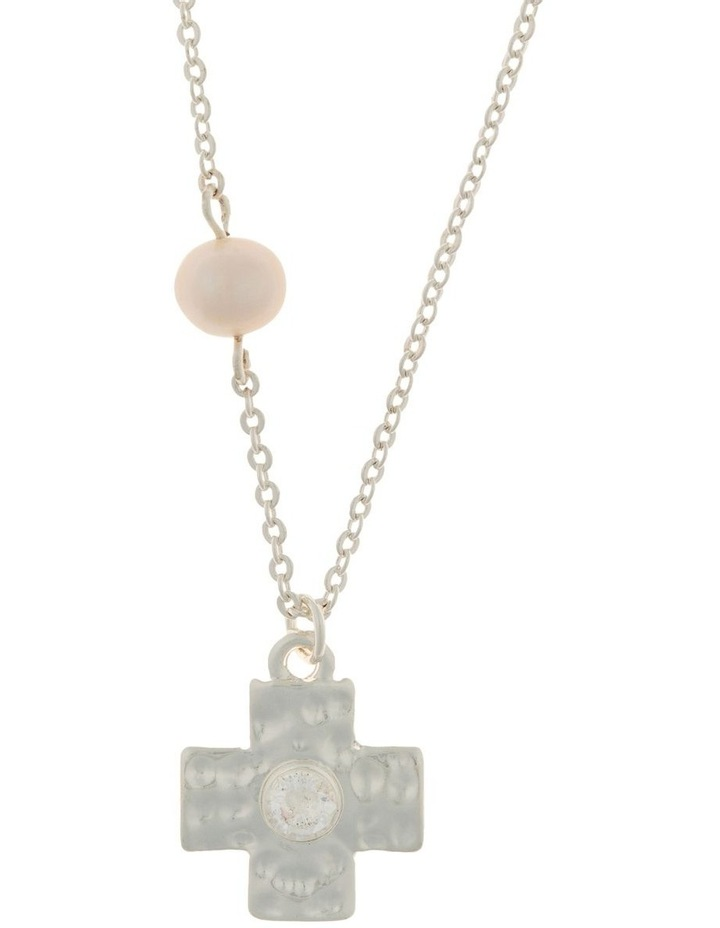 Cross Necklace w/ Cubic Zirconia - Silver image 1