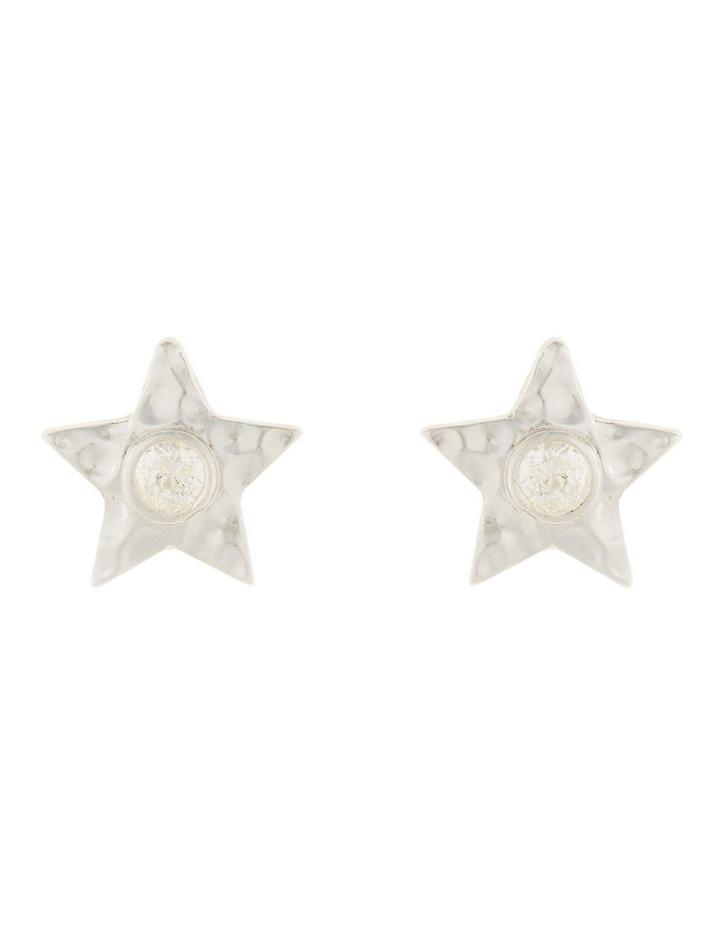 Star Stud Earrings w/ Cubic Zirconia - Silver image 1