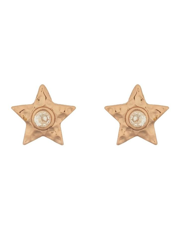 Star Stud Earrings w/ Cubic Zirconia - Rose Gold image 1