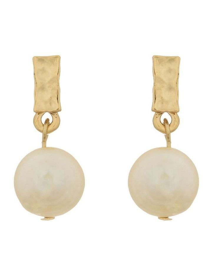 Pearl Drop Earrings - Light Gold image 1