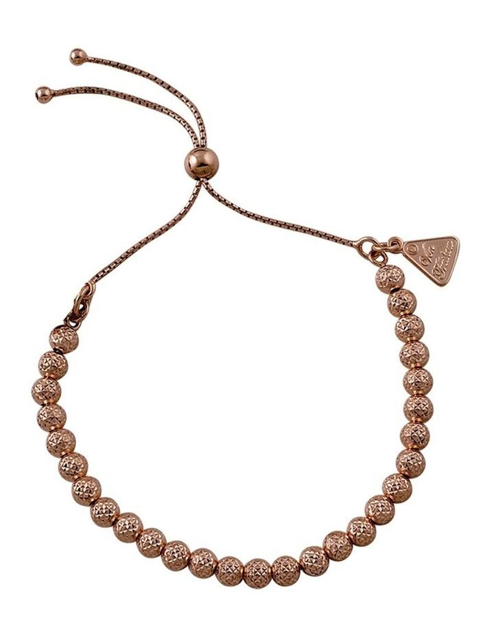 Rose Gold Plated Adjustable Hammered Ball Bracelet image 1