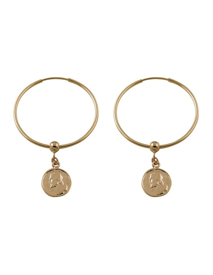 Hoop Earrings w/ Religious Charm - Gold image 1