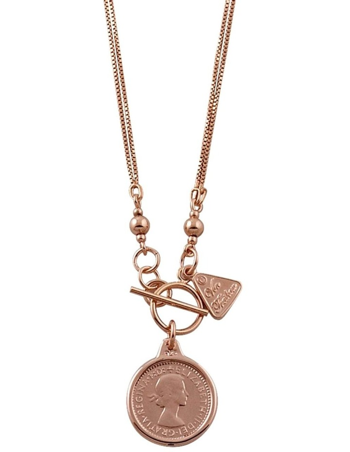 Double Box Chain Necklace w/ Sixpence - Rose Gold image 1