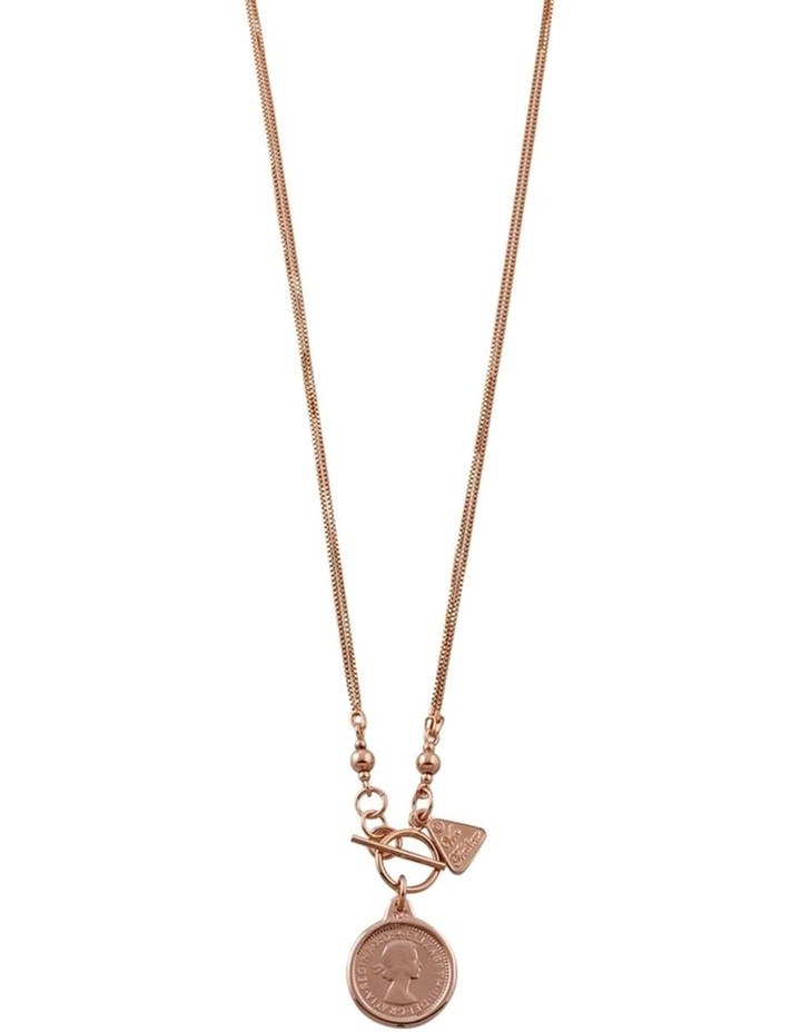Double Box Chain Necklace w/ Sixpence - Rose Gold image 2