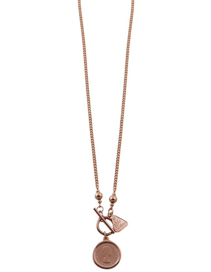 Silver Rose Gold Filled Curb Chain Necklace W/ N Sixpence Coin image 2