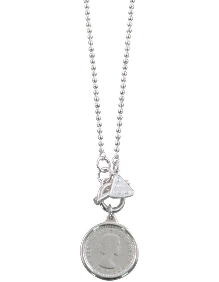 Ball Chain Necklace w/ Sixpence Coin - Silver image 1
